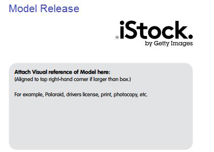 วิธีกรอกแบบฟอร์ม Model release Istockphoto