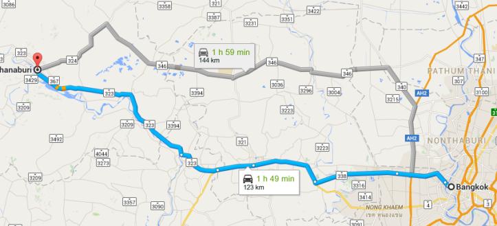 Bangkok to Kanchanaburi Map