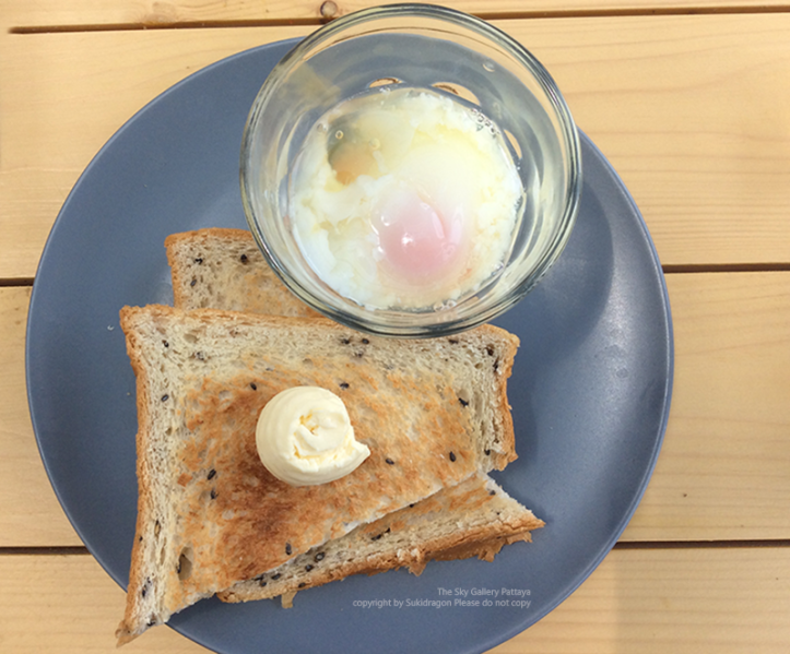 Runny eggs with toast @ the sky gallery Pattaya