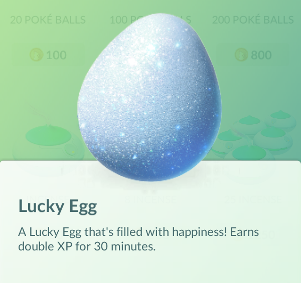 Lucky Egg ช่วยเพิ่มดับเบิ้ล XP ในระยะเวลา 30 นาที